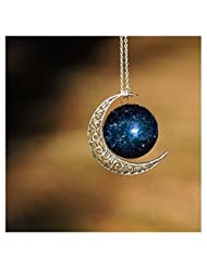 Crescent Moon Necklace Celestial Cosmos Made Pendant of Star Stuff Nebula Galaxy Planet Outer Astrology Wicca Pagan Lunar Pendant