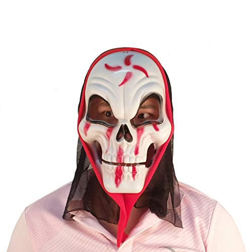 LCMJ WS Halloween Mask Horror Scary Party Makeup Prom Dress Stage Show Decoration Suitable for Men and Women (Color : White) -