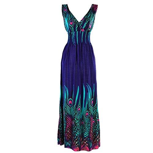 Sexy Women Milk Silk Peacock Totem V-Neck Long Maxi Dress Size L - Blue