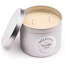 Sela Scents Natural Coconut Wax 16 Oz Vanilla Scent Candle - Healthiest Clean Burning Candle on Earth - No Paraffin Wax or Dyes
