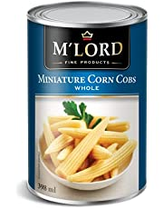 M'Lord Mini Corn Cobs, Whole, Perfect for Snacks or Side Dishes, Packed with Antioxidants & Vitamins, 398ml