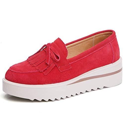 femme rouge Zhrui Eu couleur 37 simple Souliers cuir avec E plateau vert 4 en de taille rttZRq