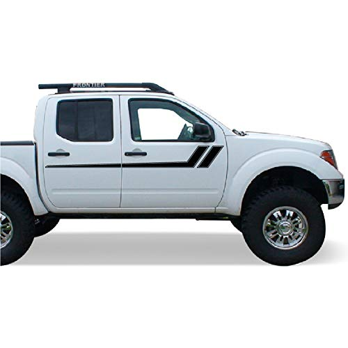Bubbles Designs Decal Graphic Vinyl Side Racing Stripes Compatible with Nissan Frontier Navara 2004-2015 - Design Frontier