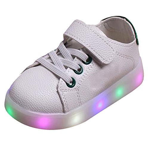 hibote Muchachos de los muchachos del niño ligeros que encienden para arriba los zapatos Verde