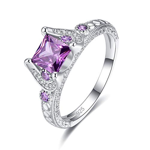 Emsione 925 Sterling Silver Plated Created Amethyst 4-Prong Princess Cut with Round Side Stones Anniversary Wedding Engagement Ring Band Size 6 Color Purple