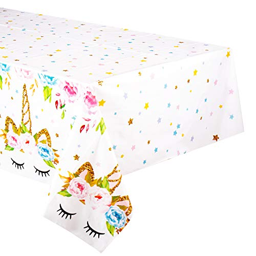 4 Pack Unicorn Plastic Tablecloth - FZR Legend Unicorn Birthday Party Supplies | 53 x 90 inches,Disposable Table Covers | Magical Unicorn Party Decorations for Girls and Baby Shower (4)]()