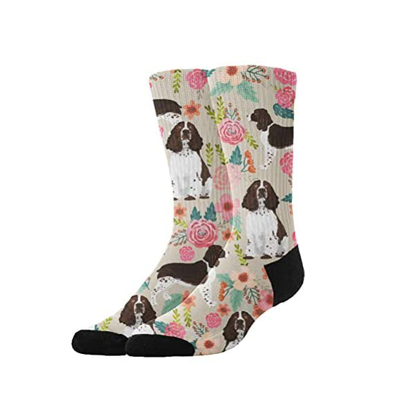 Jinkela English Springer Spaniel Socks, Unisex Fashion Casual Crew Dress Stockings Wedding Gift 1
