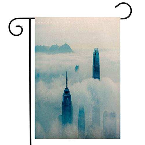 BEIVIVI Creative Home Garden Flag The City in The Clouds Hong Kong Garden Flag Waterproof for Party Holiday Home Garden Decor]()