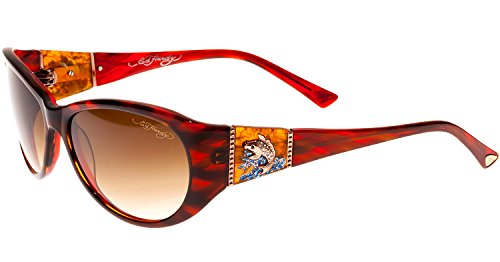 Ed Hardy Jumping Koi Sunglasses Red Horn Brown Gradient 5...