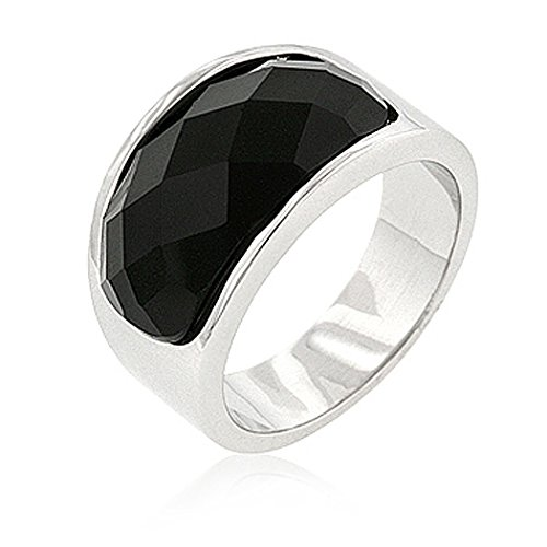Element Jewelry Rhodium Plated Cocktail Ring with Jet Black CZ- Size - Jewelry Element Ring