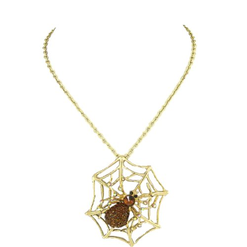 Fashion Jewelry ~ Large Goldtone Spiderweb Pendant with Crystals Necklace (Spiderweb Rhinestone Necklace)