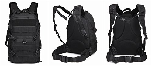 OUTGEAR Military Molle Rifle Patrol Rucksacks Tactical Backpacks with Grenade Survival Kit For Hiking Climbing Shooting Outdoor Sports, Black