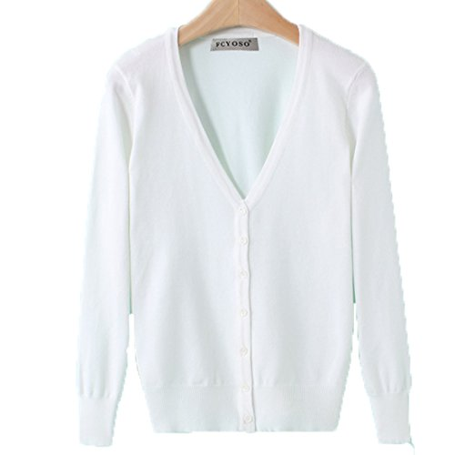 FCYOSO Women Button Down Long Sleeve Soft Knit Cardigan Sweater (US,XL/Asia,2XL) 18 (Sahalie Cardigan)