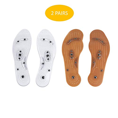 - 2 Pairs Acupressure Magnetic Massage Foot Therapy Reflexology Pain Relief Shoe Insoles Washable and Cuttable (Size for Men)