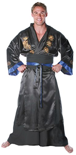 [Underwraps Mens Samurai Black Theme Party Fancy Dress Asian Costume, One Size (Up To 44)] (Halloween Costumes Asian)