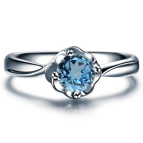 Blue Topaz Milgrain Ring (Round Cut Blue Topaz Engagement Ring 14k White Gold Yellow Gold Rose Gold or Platinum Art Deco Design Natural Blue Topaz Ring HANDMADE Anniversary Ring)