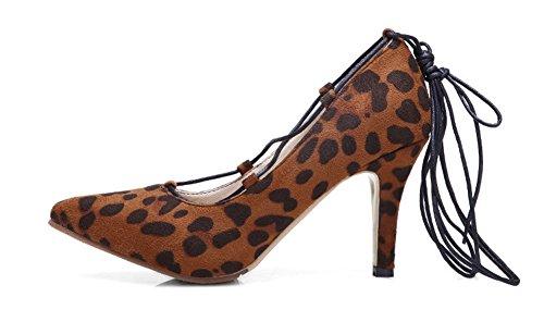 Aisun Womens Sexy Gilly Self Tie Cravatta A Punta Tacco Pompe Scarpe Con Tacchi Alti Leopardo