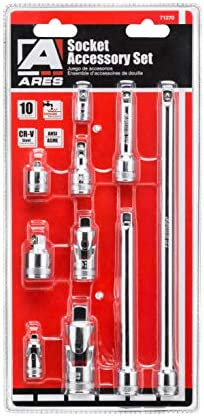 ARES 71270 - 10-Piece Socket Accessory Set - Premium Chrome Vanadium Steel with Mirror Finish - Includes Socket Adapters, Extensions and Universal Joints