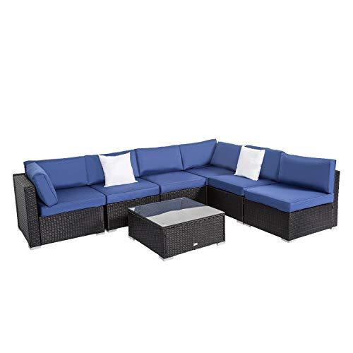 Peach Tree Outdoor Furniture Sectional Wicker Sofa Set 7 PCs Patio Resin Rattan Clearance, All-Weather Washable Waterproof Dark Blue Cushions, w/Glass Coffee Table, Backyard, Pool