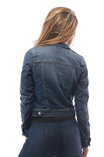 Hollywood Star Fashion Womens Basic Button Down Denim Jean Jacket (Large, MediumBlue, Size Large