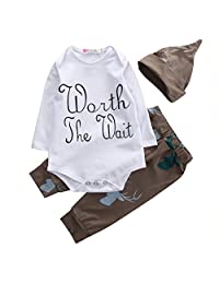 """Baby Boys Deer Long Sleeve """" Worth The Wait """"Bodysuit and Pants Outfit with Hat"""