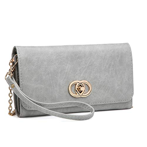 grey Clutch Wristlet Wallet Ladies Women Cellphone Bag Purse Card Crossbody Shoulder Holder 3022 xwzAzd5q