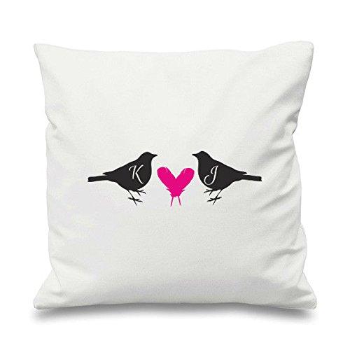 Par de Pájaros y corazones con personalizado de corazón de ...