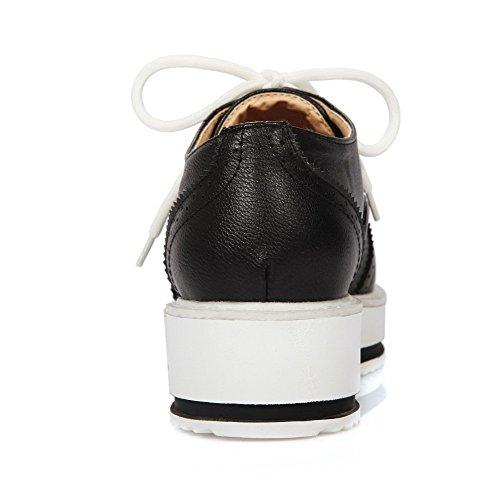 VogueZone009 Damen Mittler Absatz Weiches Material Rein Schnüren Rund Zehe Pumps Schuhe Schwarz