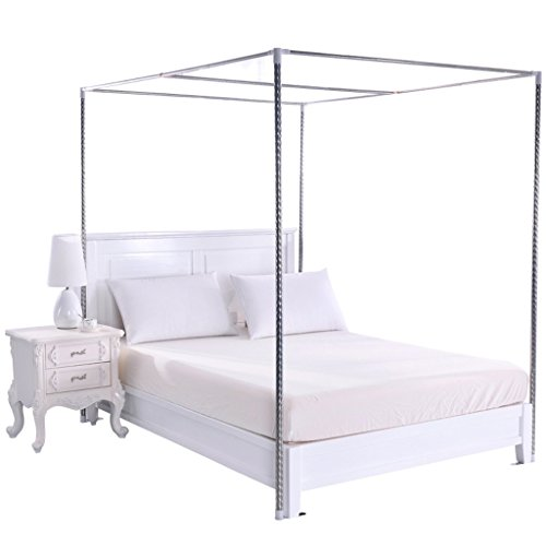 Taiyucover 4 Corner Bed Canopy Frame Post Bracket-Twin/Twin XL/Full/Queen/King/California King Size Fit for Four Corner Bed Mosquito Netting Curtain (Full, 22MM Stainless Steel Bed Frame) (Silver Canopy Bed)