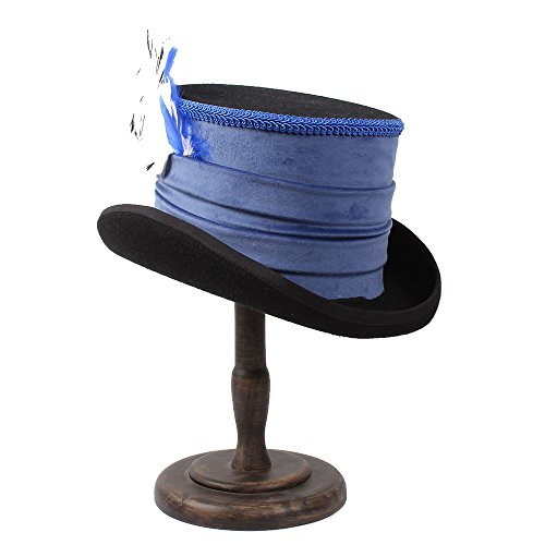 XZP Victorian Steampunk Raven Vintage Style Blue Top Hat ( Color : 1 , Size : 59CM ) by XZP