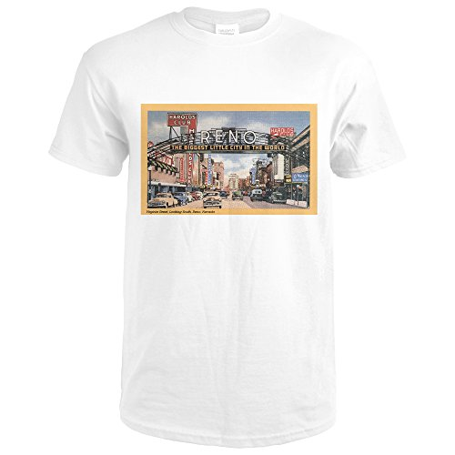 Reno, Nevada - South View of Virginia Street, Famous Reno Sign (Premium White T-Shirt - Virginia Reno