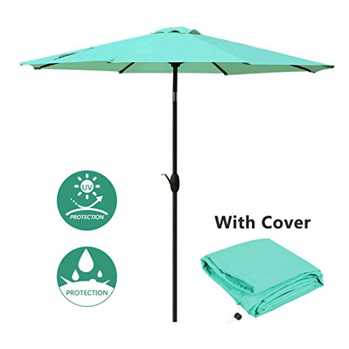 Patio Umbrella 9 Ft Aluminum Outdoor Table Market Umbrellas With Push Button Tilt and Crank, Safety Bolt,8 Ribs (Turquoise) (9' Outdoor Square Patio Market)