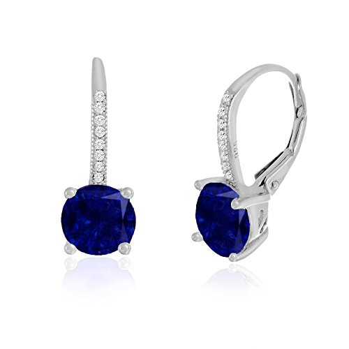 Blue Cubic Zirconia Earrings (Lesa Michele Womens Round Simulated Blue Sapphire and Cubic Zirconia Drop Lever Back Mother's Day Gift Earrings in Sterling Silver (Blue))