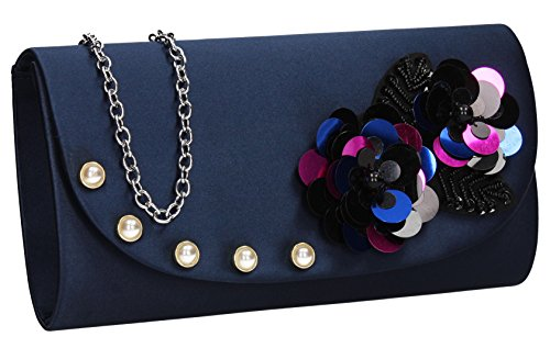 Blue SWANKYSWANS Celebrity Clutch Floral Bag Joyce Ladies Party Wedding Prom Navy Out Flapover Night Evening Purse SRZwqrS8