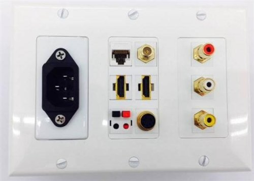 Db9 S-video - CERTICABLE WHITE TRIPLE GANG CUSTOM DESIGNED WALL PLATE - C14 POWER OUTLET + CAT5E + COAX + 2x HDMI + S-VIDEO + 2 POLE SPEAKER PLUG + 3 RCA COMPOSITE