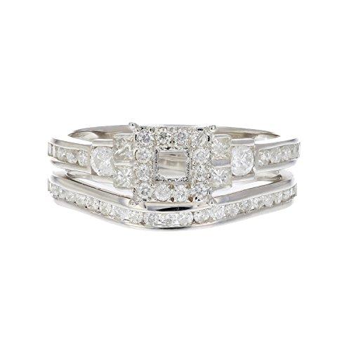 3/4 CT Diamond Semi Mount Bridal Set with Princess Center in Silver Size 7