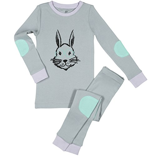 Papallou Girls Bunny Rabbit Pajama set, 100% Cotton,7,Grey