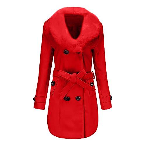 taglia Bcfuda Rosso Donna Giacca Freddo Grossa Faux Mantenere Caldo Soprabito Donna Lana Trench Con Bavero Cappotto Cintura Inverno Outwear 54R3AjLq