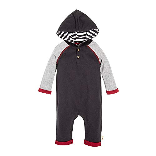 Burt's Bees Baby Baby Boys' Organic One-Piece Romper Coverall, Zinc Hooded Heavy Jersey, 24 Months