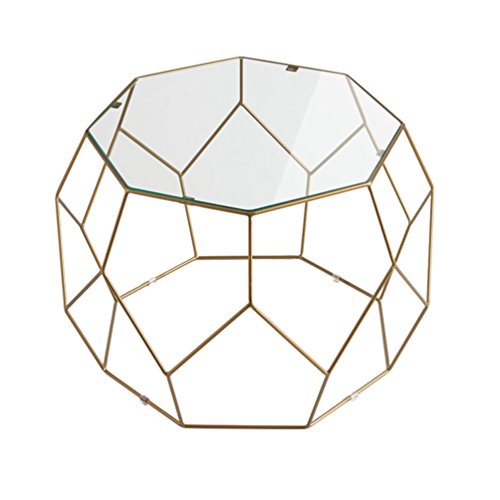 Fly Nordic Coffee Table, Living Room Round Golden Coffee Table, Glass Wrought Iron Table, Restaurant Creative Table, Metal Frame (Size : 31x46cm)