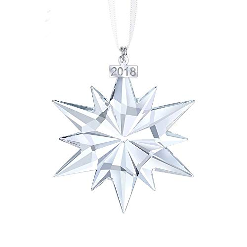 Key-Sunn 75mm x 62mm Annual Edition 2018 Christmas Snowflake Ornament Fine Box Wrap/Car Ornament Car Crystal Snowflake Pendant (Transparent)