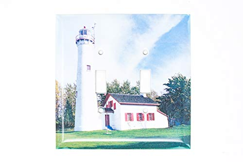 (Sturgeon Point Michigan Lighthouse Double Light Switch Plate, Hand Imprinted Photo)