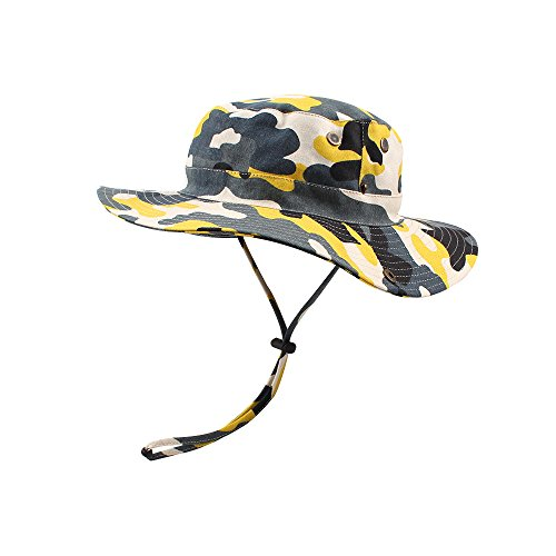KASULAR Unisex Children Outfit Men&Women Outdoor Bucket Hat Summer Sun Protection Cap for Travel Fishing Hunting Hiking (Yellow, -