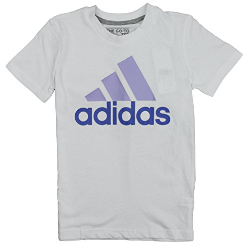 Adidas Big Girls Adi Logo Short Sleeve Tee (Small (7/8), White/Purple)