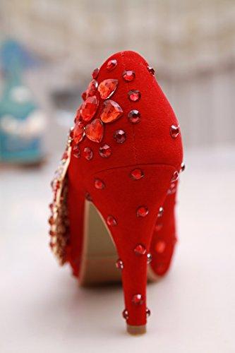 noche de Stiletto red hecho piel a mano para Minishion 10cm Tacón boda o mujer Suede Heel para alto ZfxOw8q