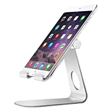 MoKo Tablet Stand, Universal 210 Degree Multi-Angle Rotatable Aluminum Alloy Smartphone Tablet Desktop Cradle Holder for iPad Pro 9.7/iPad Air 2, iPhone 6s /7 Plus, Samsung Galaxy S7/S7 Edge, Silver