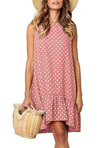 Womens Ruffle Bootie - Mystry Zone Women's Fashion Sleeveless Polka Dot Dress Casual Swing Ruffle Hem Pink Large
