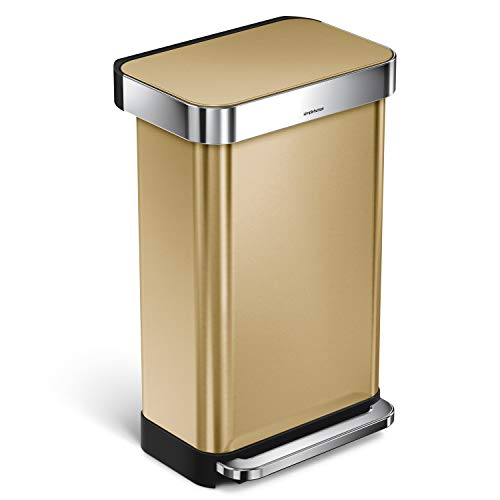 simplehuman 45 Liter / 12 Gallon Stainless Steel Slim Kitchen Step Trash Can with Liner Rim, Brass Stainless Steel