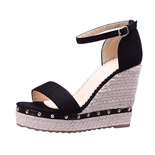 Wobuoke Womens 2019 Open Toe Wedges Thick Bottom Straps Buckle Shoes Roman High Heel Wedge Sandals Black
