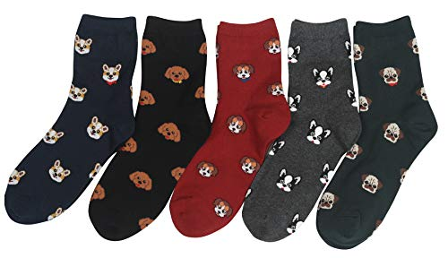 Customonaco Women's Cool Animal Fun Crazy Socks (Puppy Pattern 5 Pairs) (Funky Socks Women Cotton)
